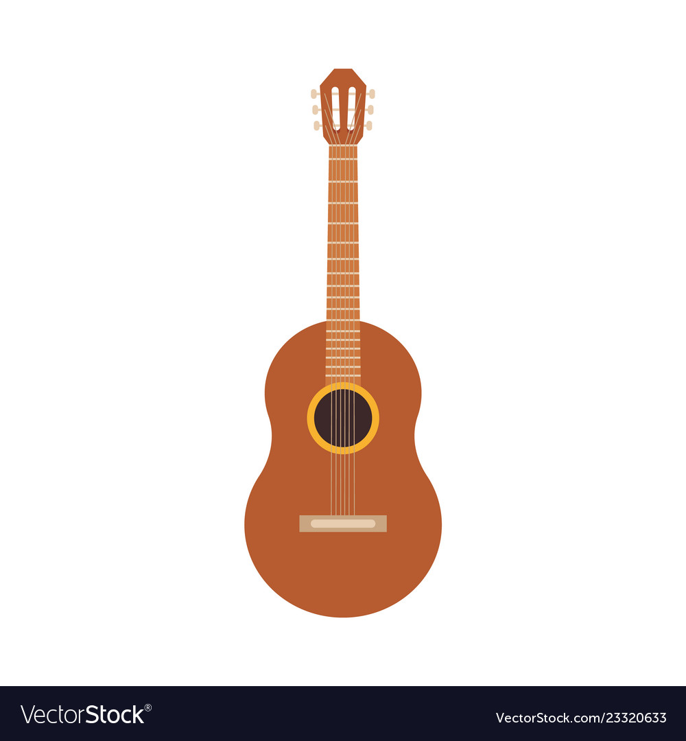 Classic wooden acoustic guitar spanish icon