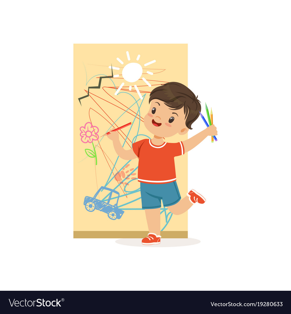 Cute little bully boy drawing on the wall hoodlum Vector Image