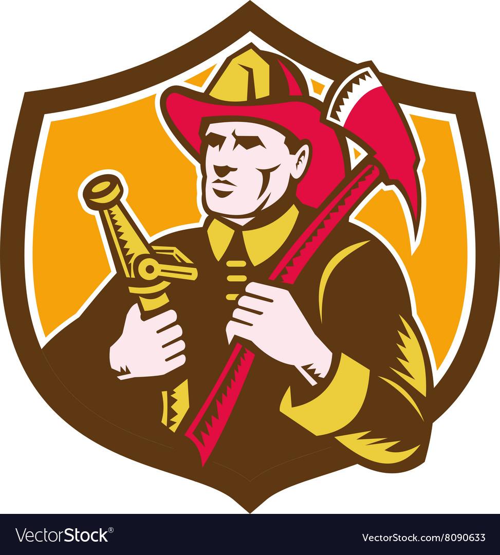 Fireman Firefighter Axe Hose Crest Woodcut