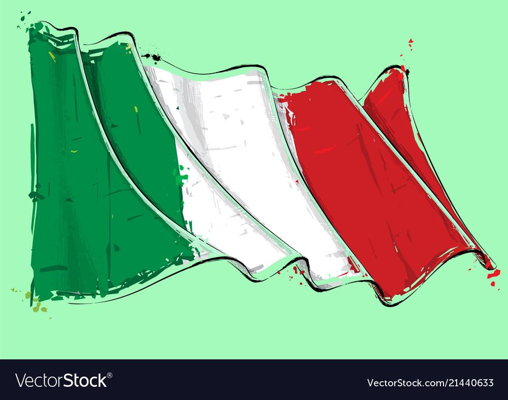 Italian artistic brush stroke waving flag