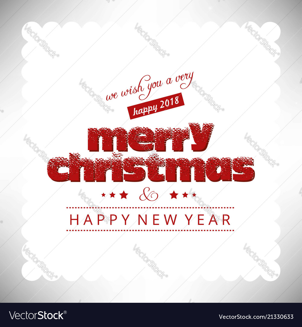 Merry Christmas Greetings Card With Light Vector Image