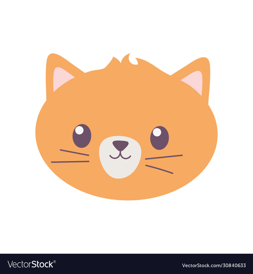 Pet cat face feline cartoon isolated icon on white