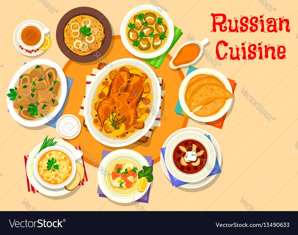 Russian cuisine delicious lunch icon design vector image