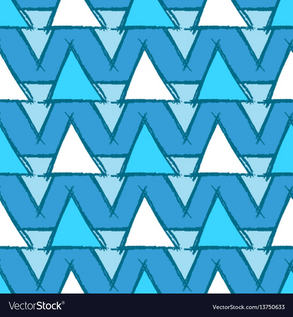 Seamless pattern with hand drawn blue triangles