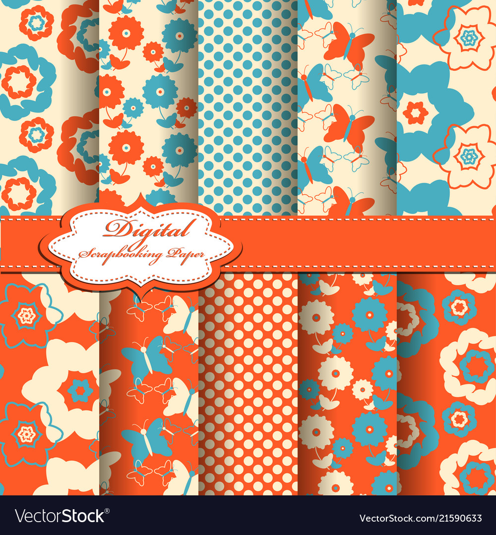 Set Of Abstract Flower Scrapbook Pattern Vector Image