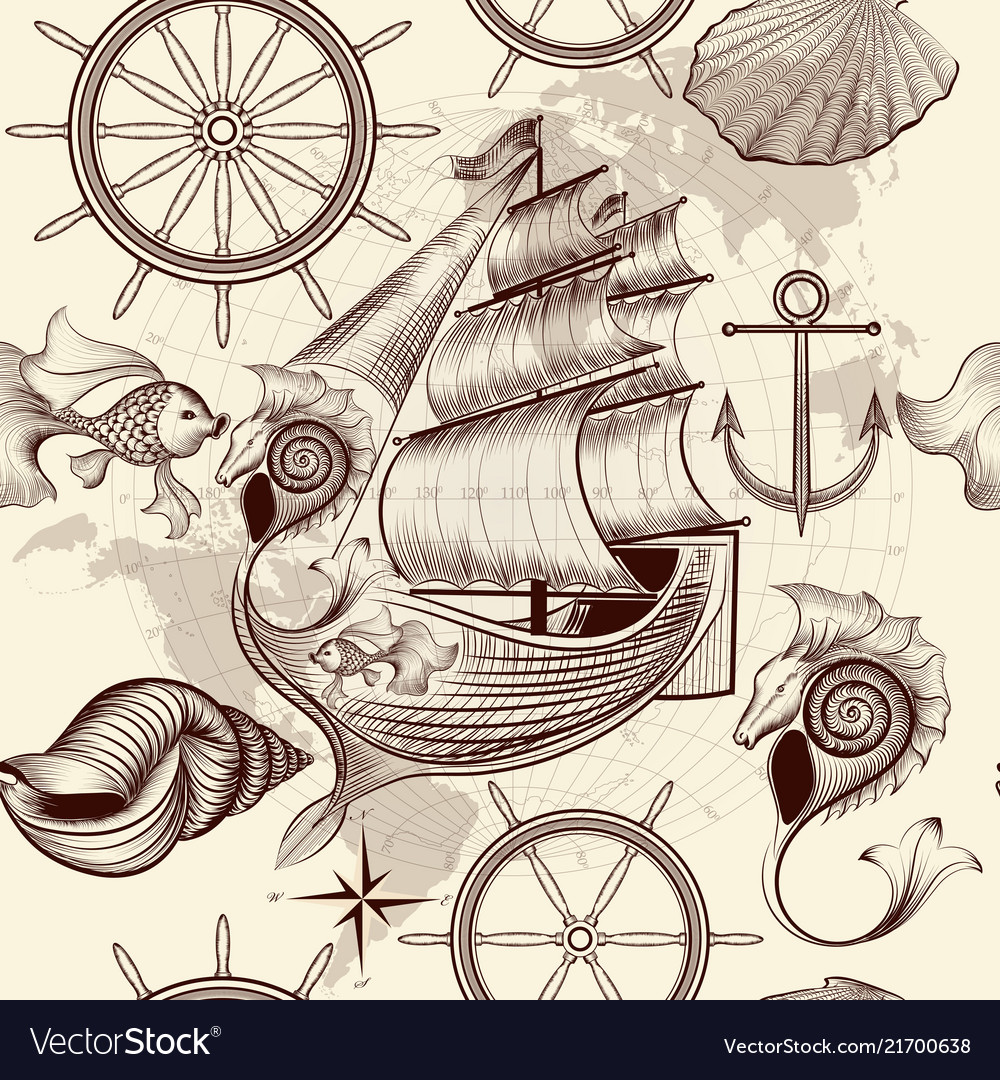 Antique pattern with ship shells and map