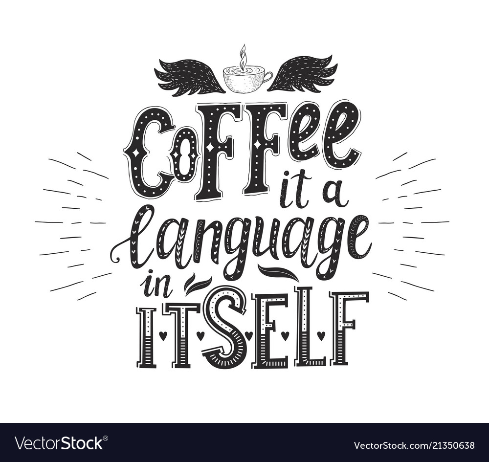 Banner with coffee quotes hand-drawn