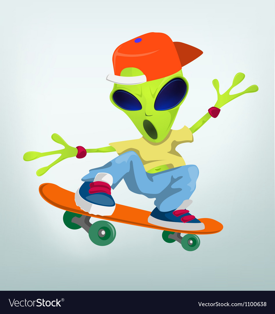 Cartoon Alien Skateboarding