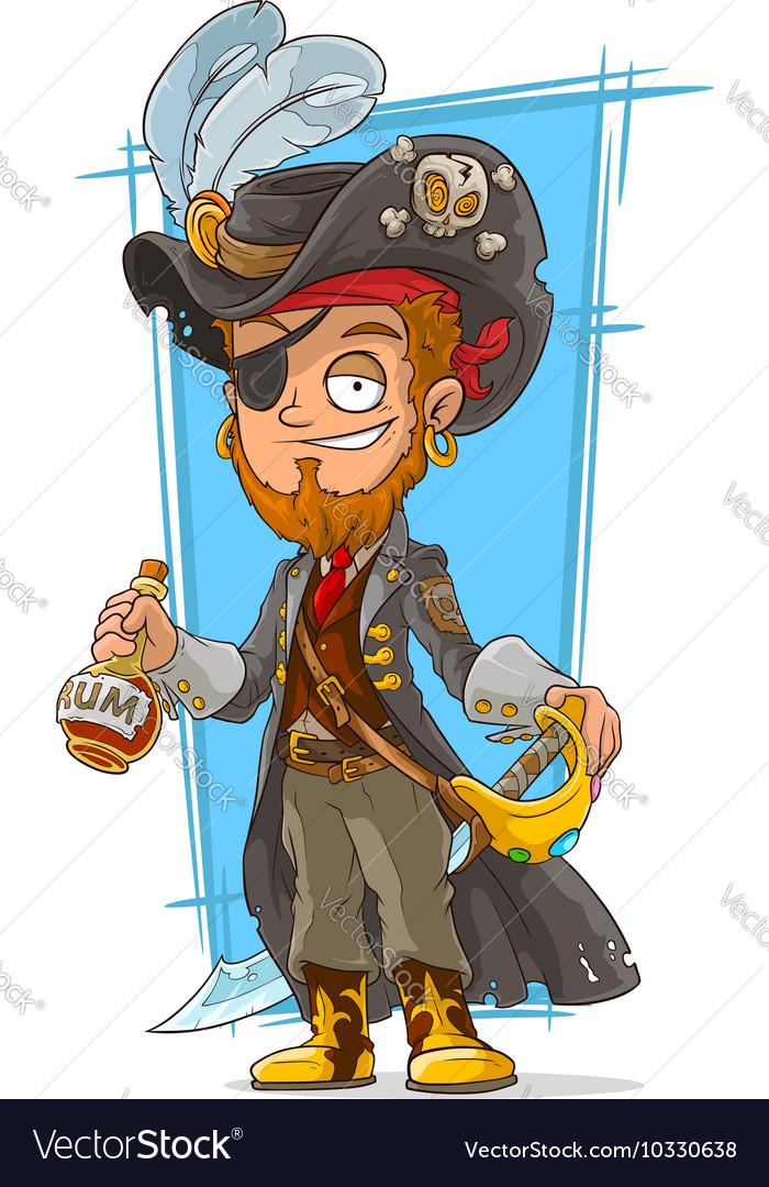 Cartoon bearded pirate with rum