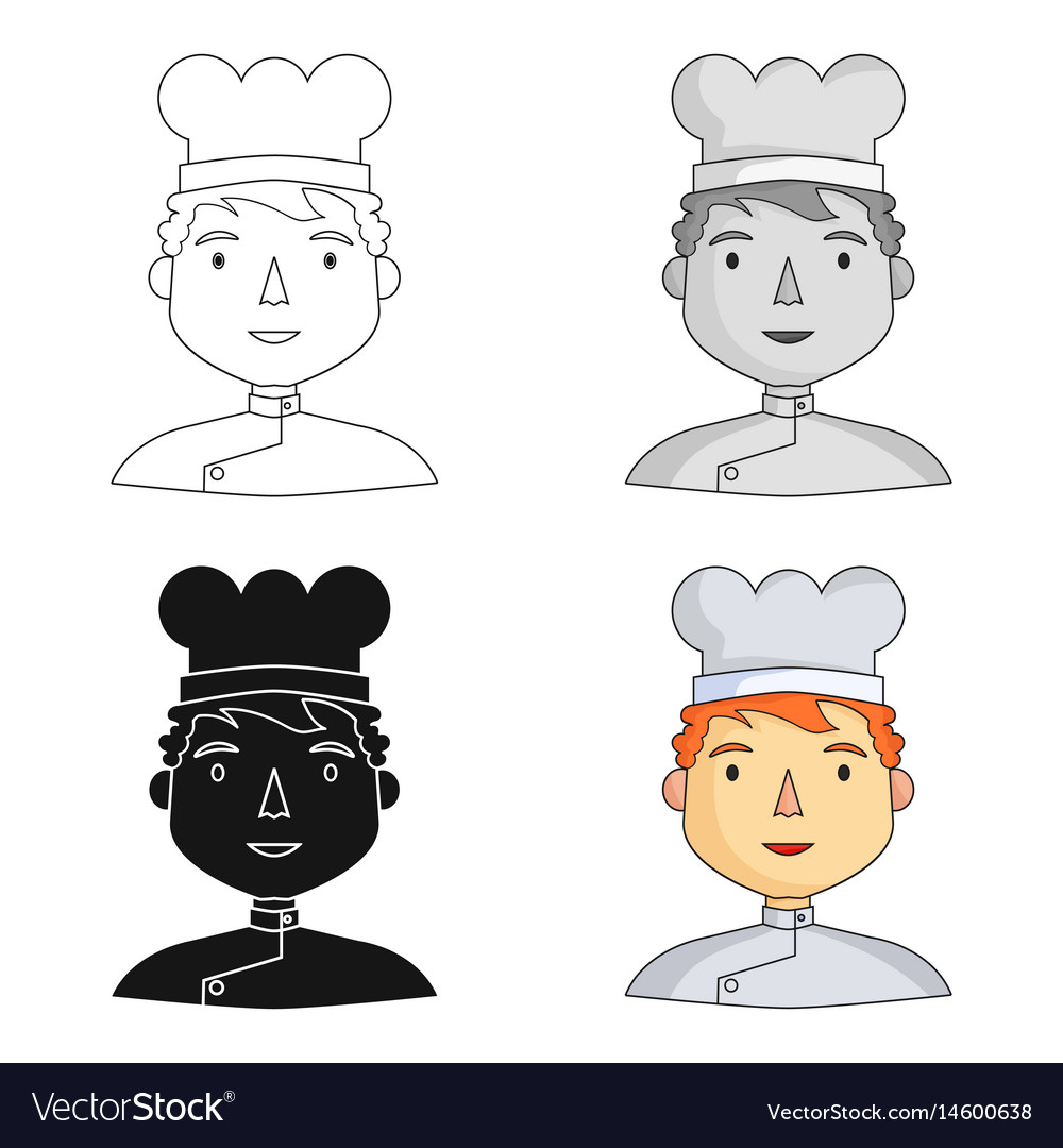 Chef icon in cartoon style isolated on white