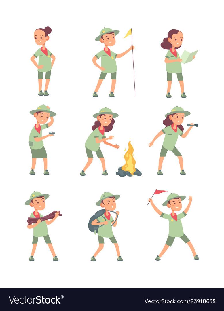 Children scouts cartoon kids in scout uniform in