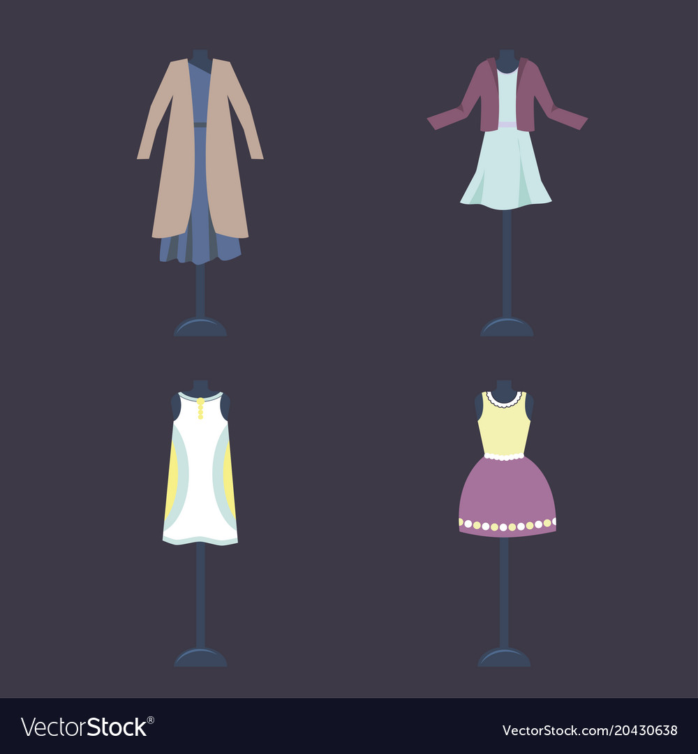 Collection of women vintage clothing on a vector image