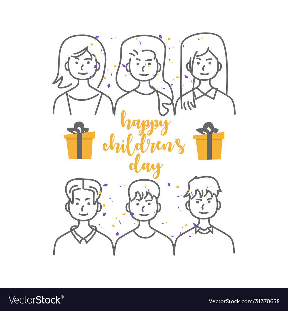 Happy children day with line art icon people