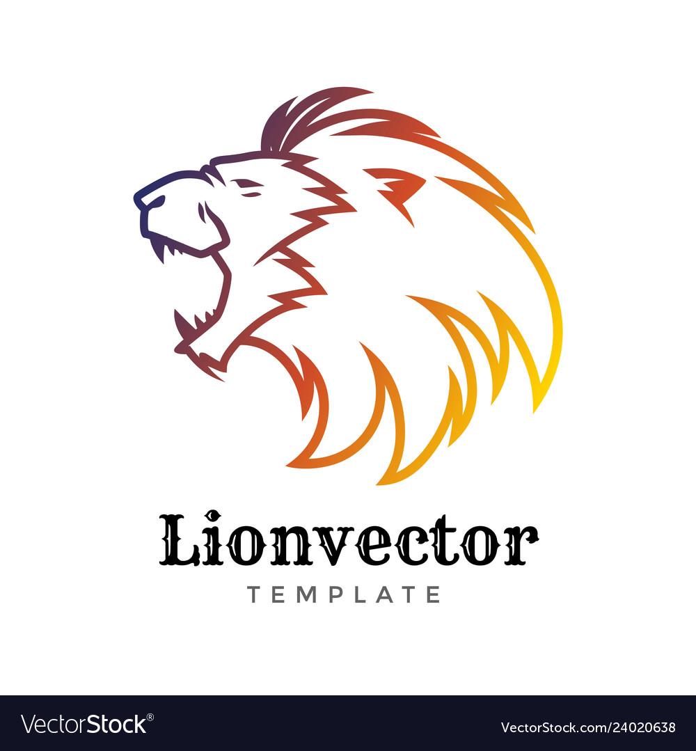 Lion shield logo design template lion head logo