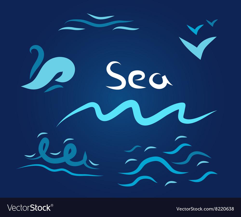 Night set the wave sea vector image