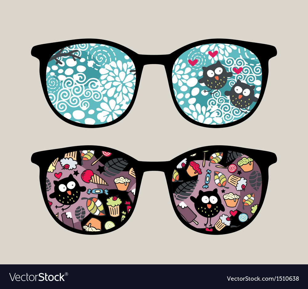 dcc3f4088a Retro sunglasses with crazy owls reflection vector image jpg 1000x939 Crazy  goggles