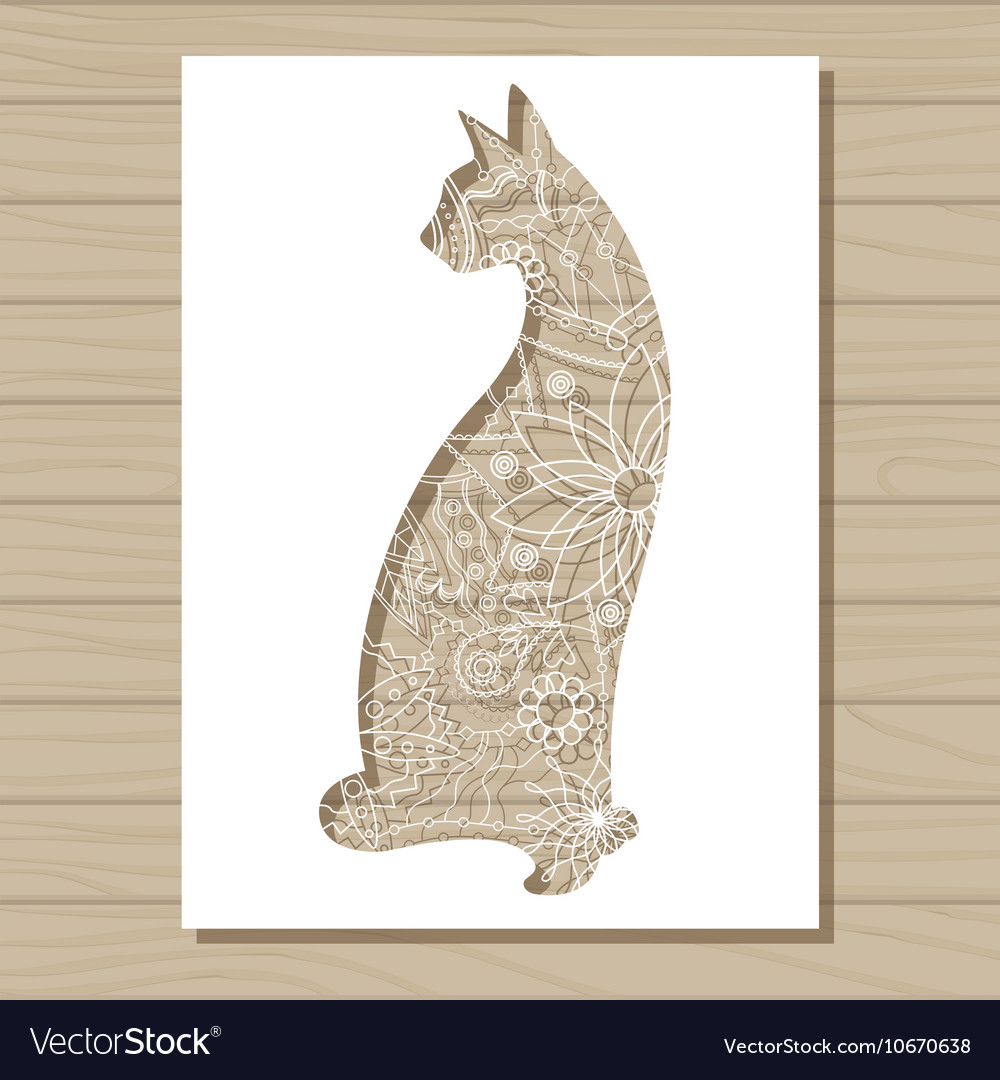 Stencil Template Of Cat On Wooden Background Vector Image