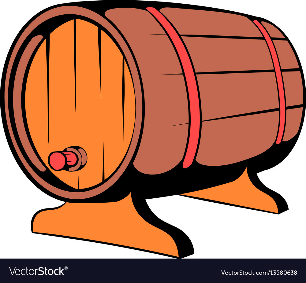 Wooden barrel beer with a tap icon icon cartoon