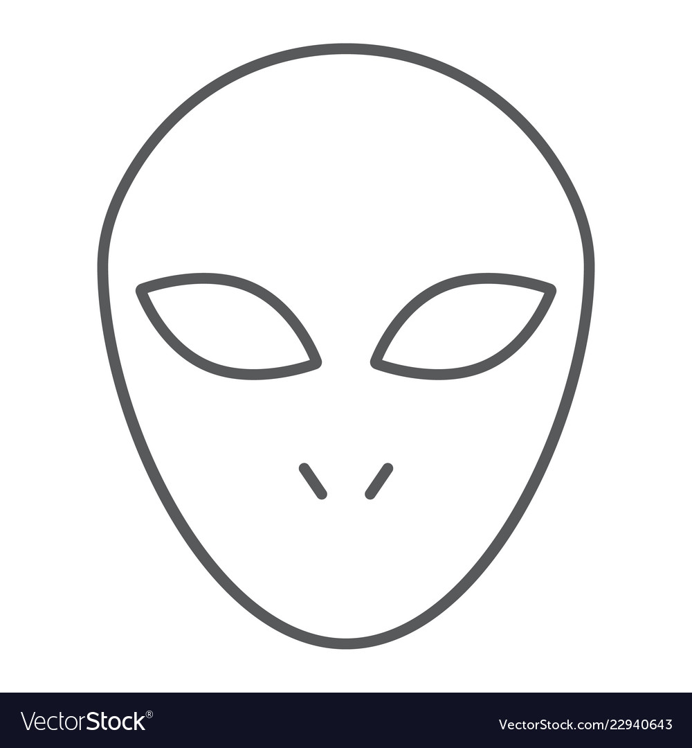 Alien thin line icon space character humanoid