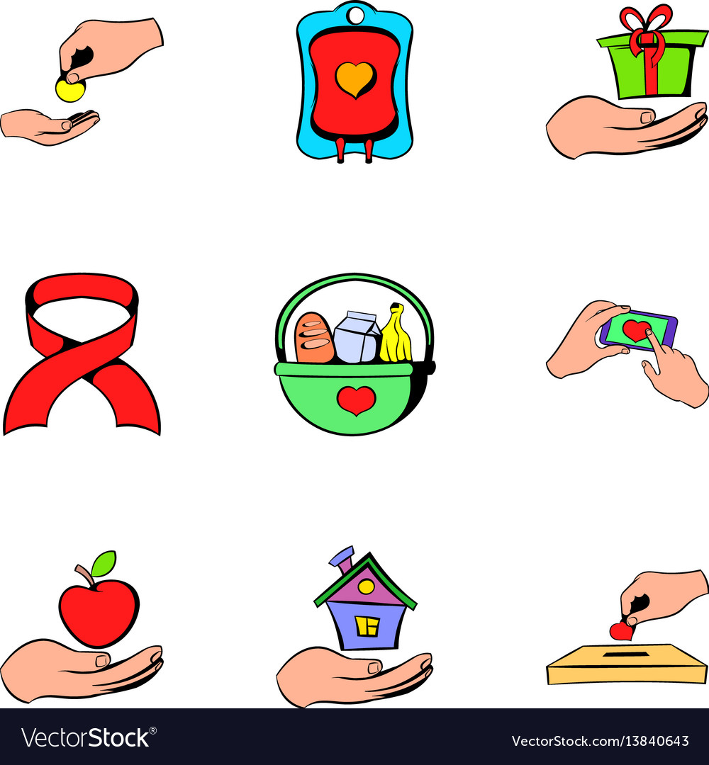 Charity icons set cartoon style