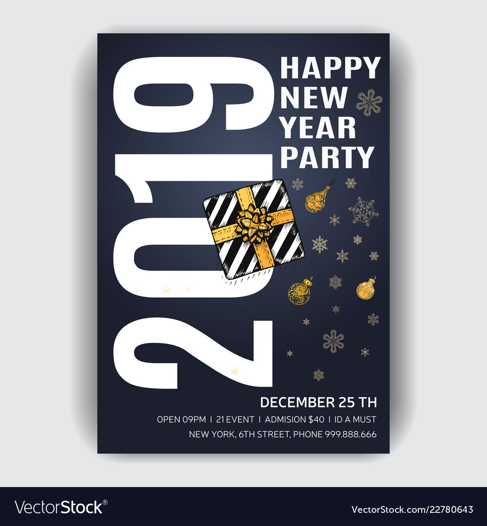 Christmas party invitation design template with