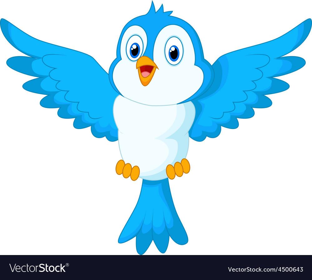 Cute Cartoon Blue Bird Flying Royalty Free Vector Image