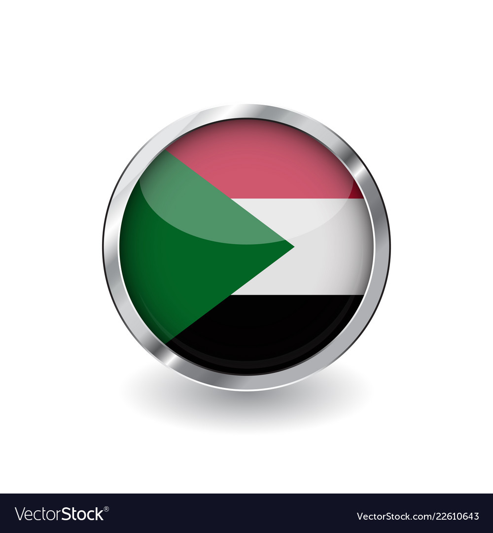 Flag of sudan button with metal frame and shadow