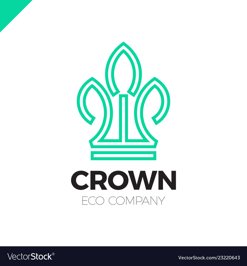 Green leaves crown abstract logo design template