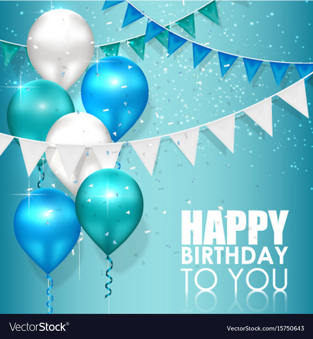 happy birthday colors on blue water background vector image