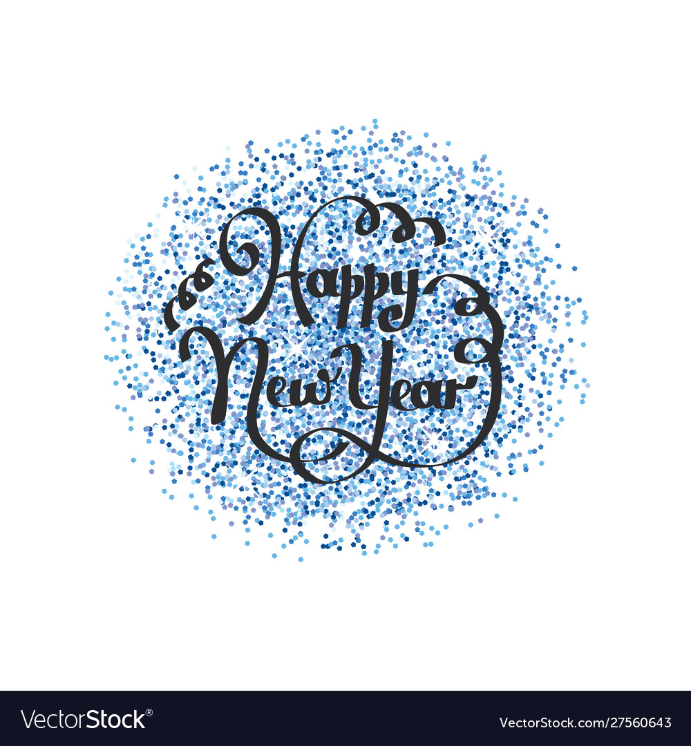 Happy new year lettering on blue background