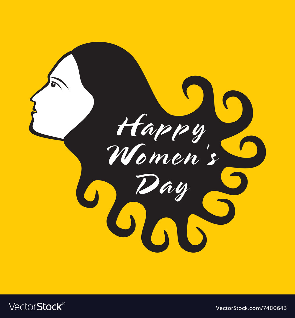 Happy women day design women with curly hair