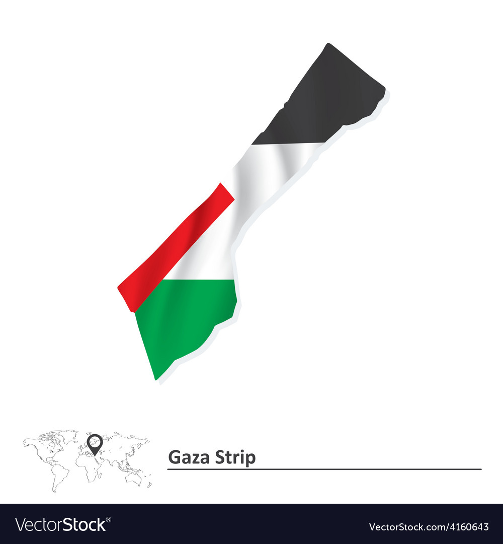 Map of Gaza Strip with flag