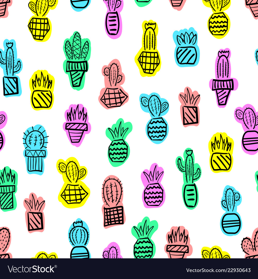Pattern cacti hand-drawn