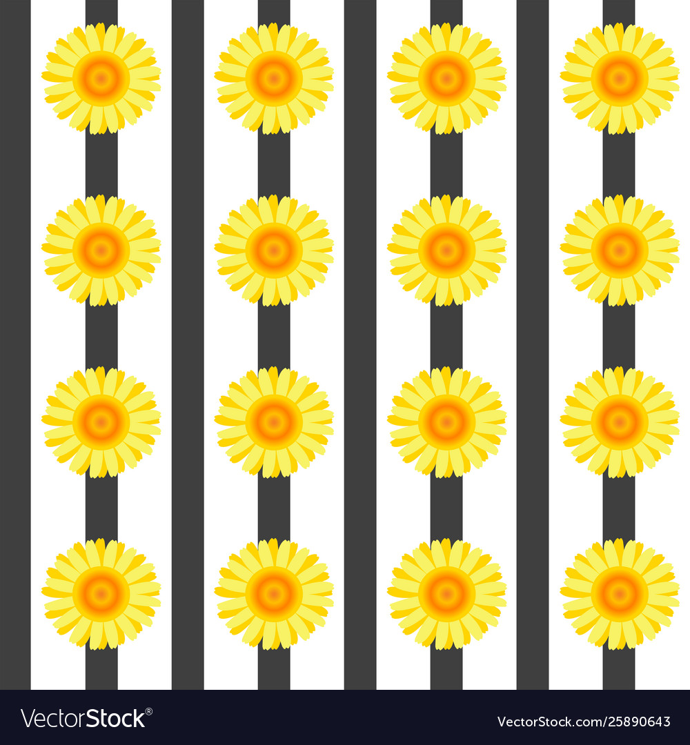 Seamless pattern with yellow flowers and black