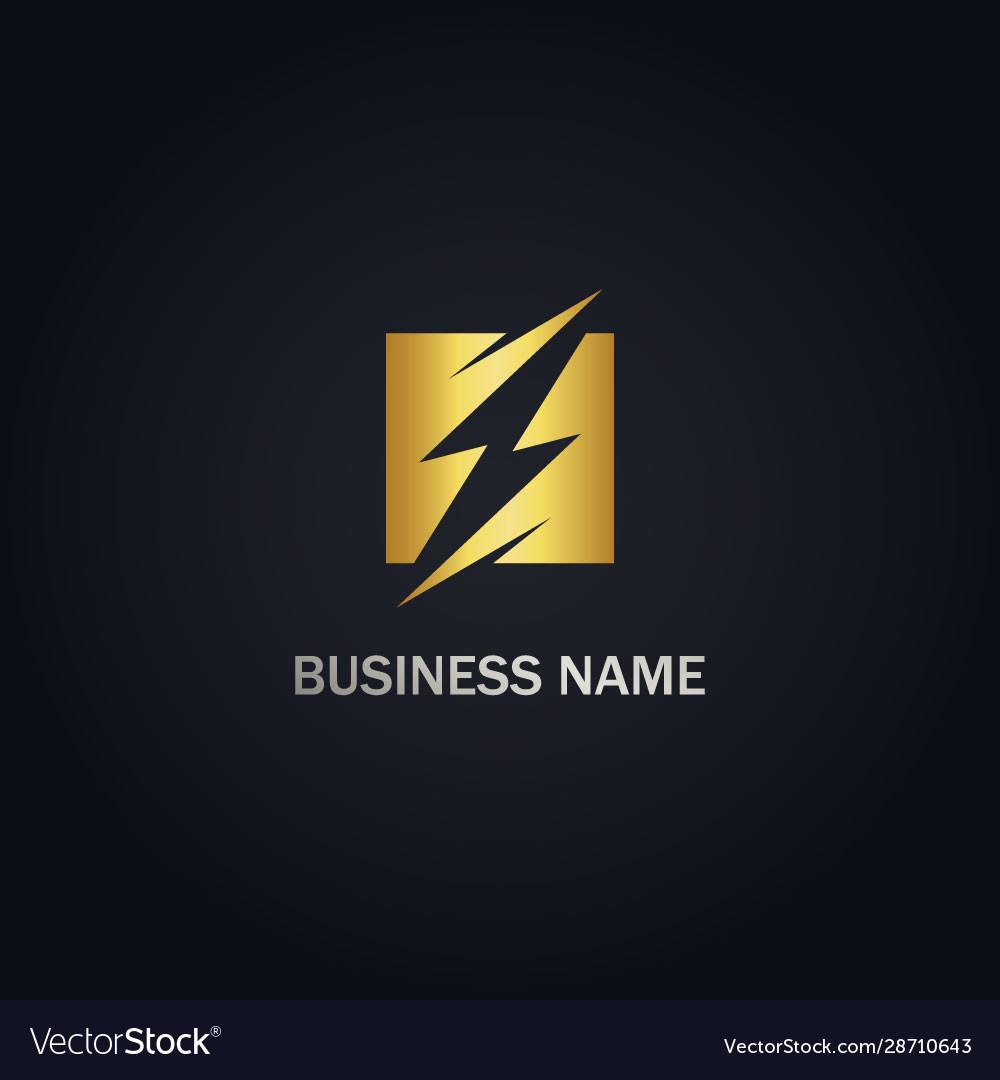 Thunder bolt energy gold logo
