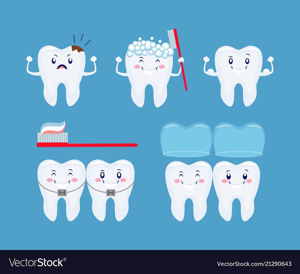 Tooth health icon set funny cartoon teeth set