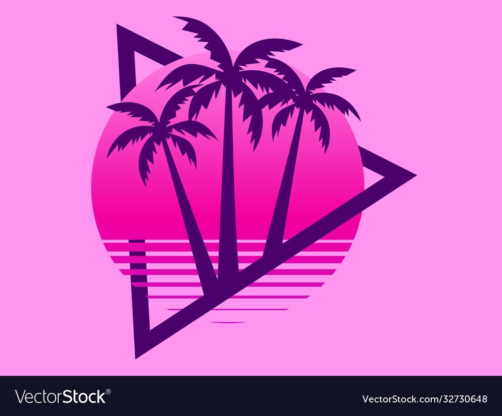 80s retro sci-fi palm trees on a sunset retro