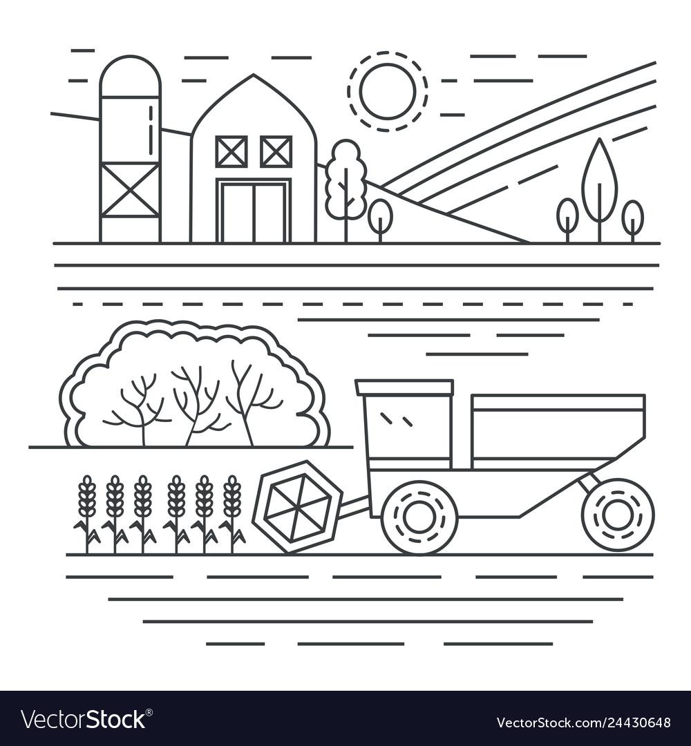 Agriculture farm thin line concept landscape