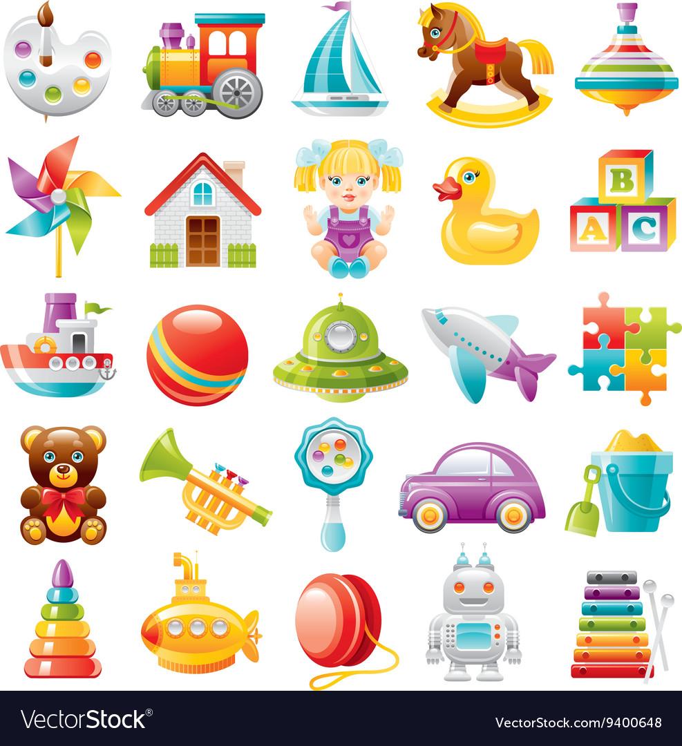Baby toys icon set palette train yaht horse