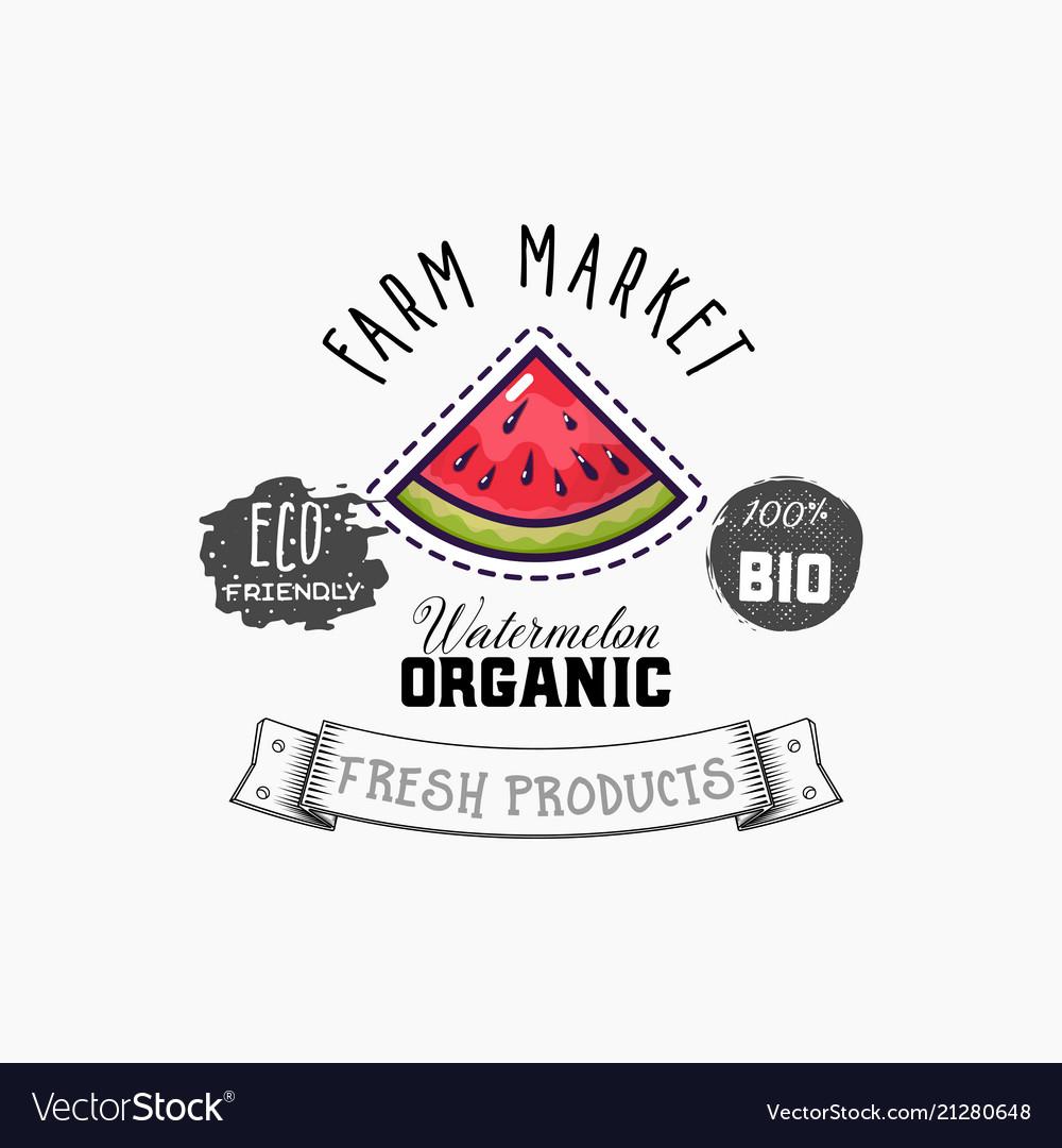 Bio sticker and eco products watermelon web