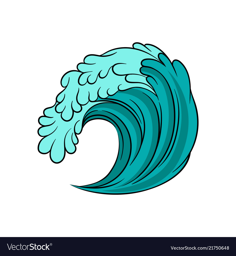 Blue sea wave with black outline stormy ocean
