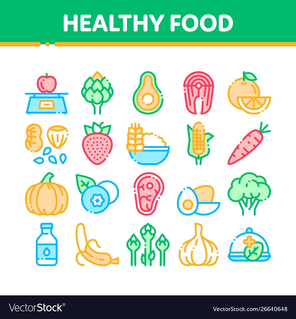 Collection healthy food thin line icons set