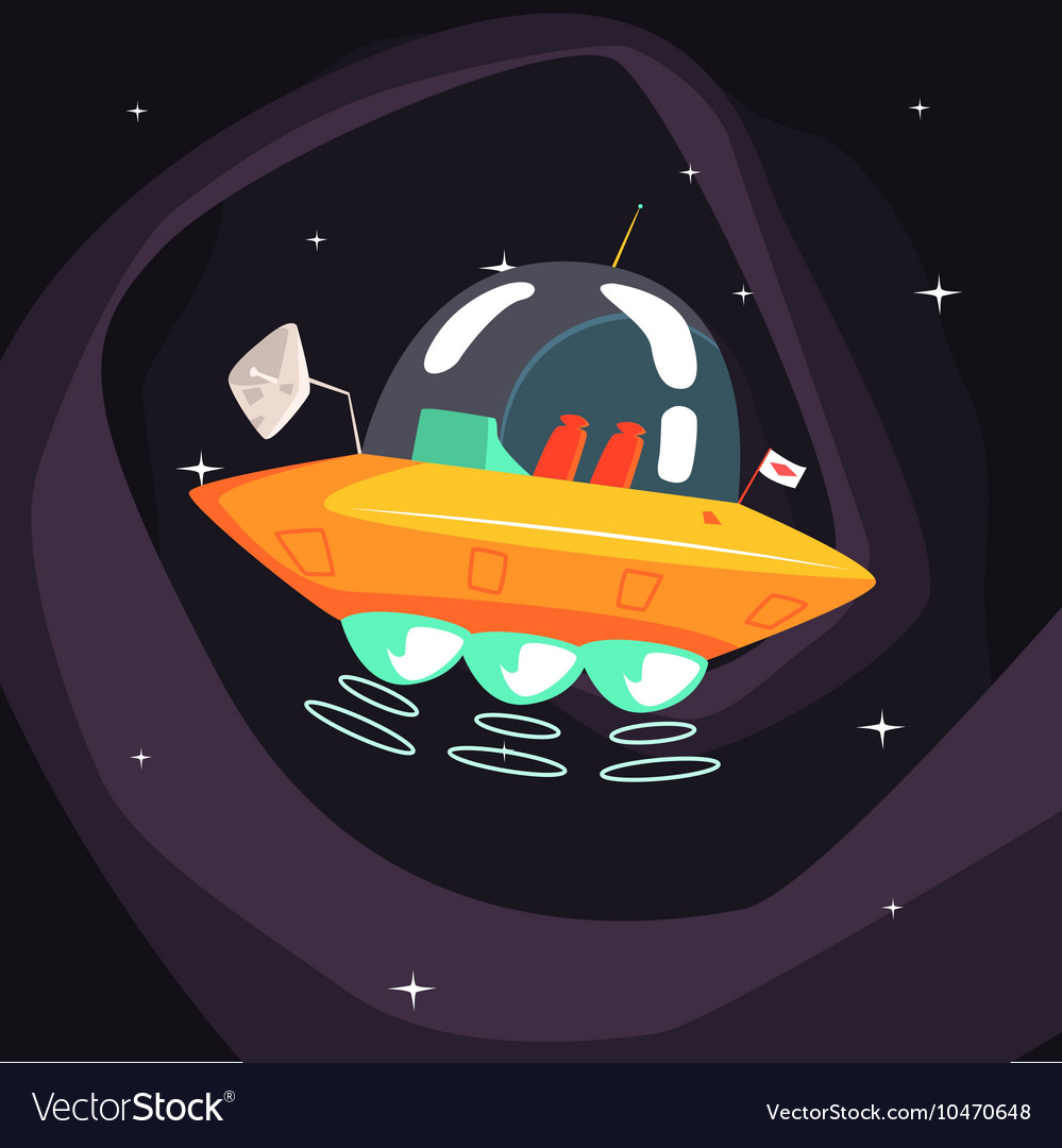Flying Saucer Alien Spacecraft With Fantastic Vector Image