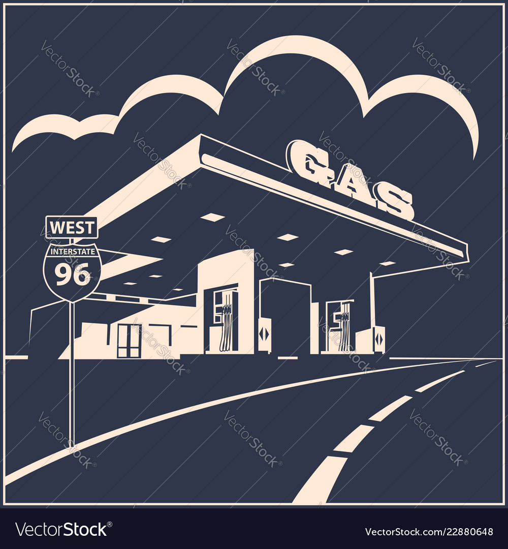 Gas station on the road poster