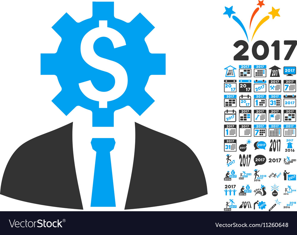 Office Bank Worker Icon With 2017 Year Bonus