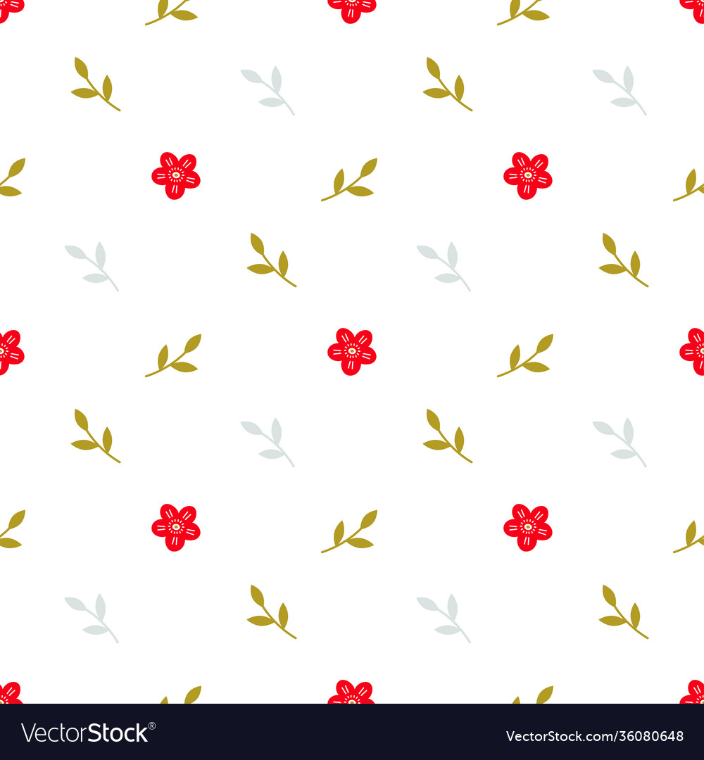 Pattern with little red flowers