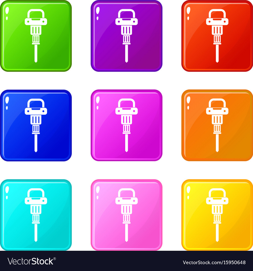 Pneumatic hammer set 9 vector image