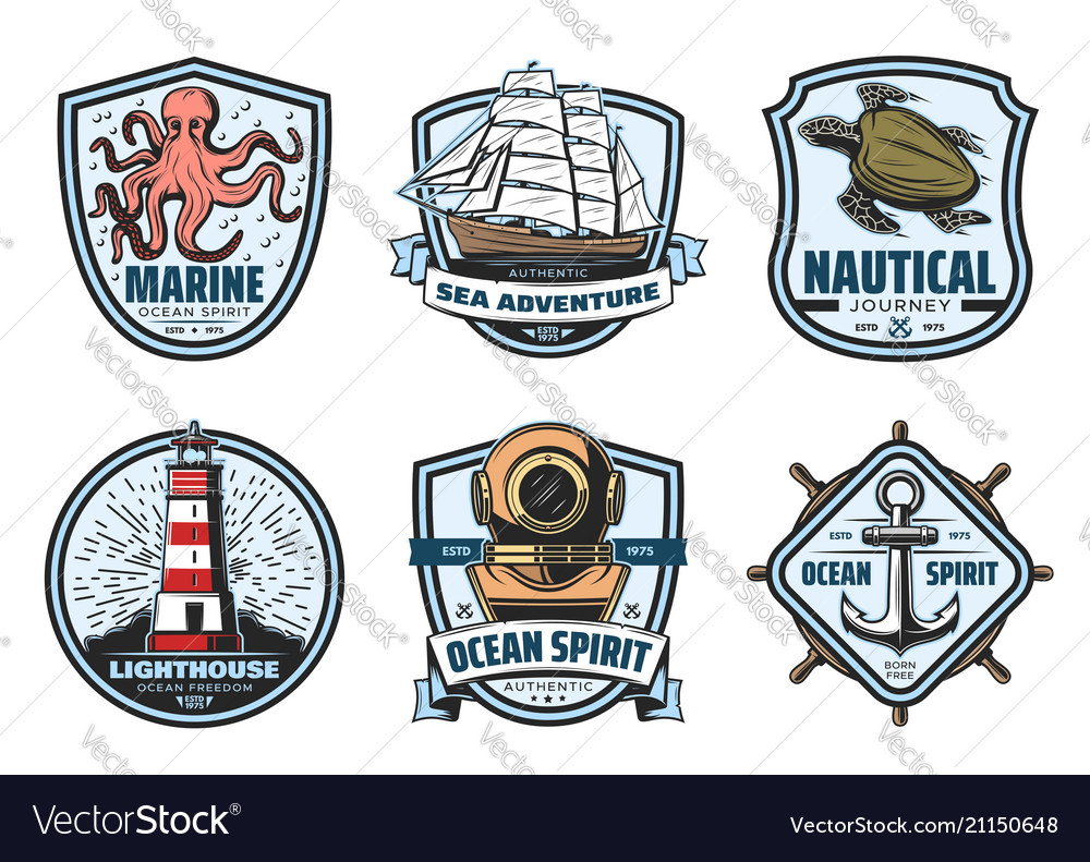 Sea adventure vintage label for nautical heraldry