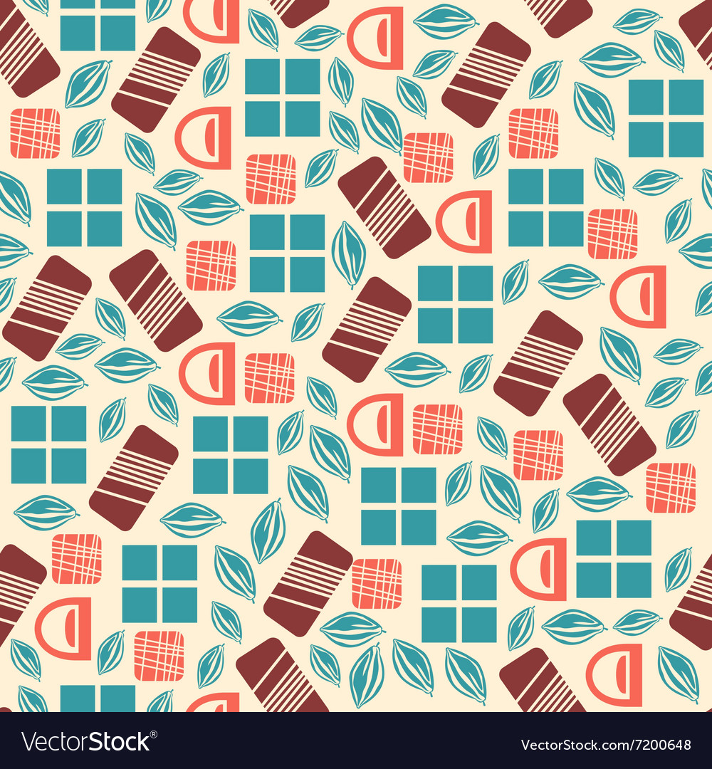 Seamless pattern with chocolate sweets isolated on