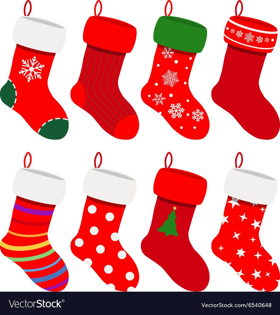 set of christmas socks royalty free vector image